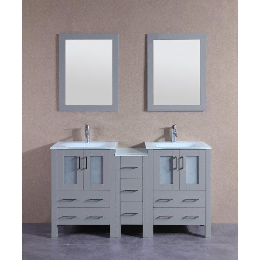 "Bosconi 60"" Double Vanity Bathroom Vanity AGR224EWGU1S"