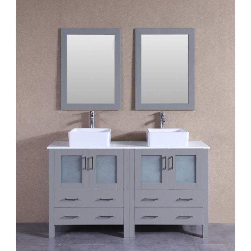 "Bosconi 60"" Double Vanity Bathroom Vanity AGR230CBEPS"