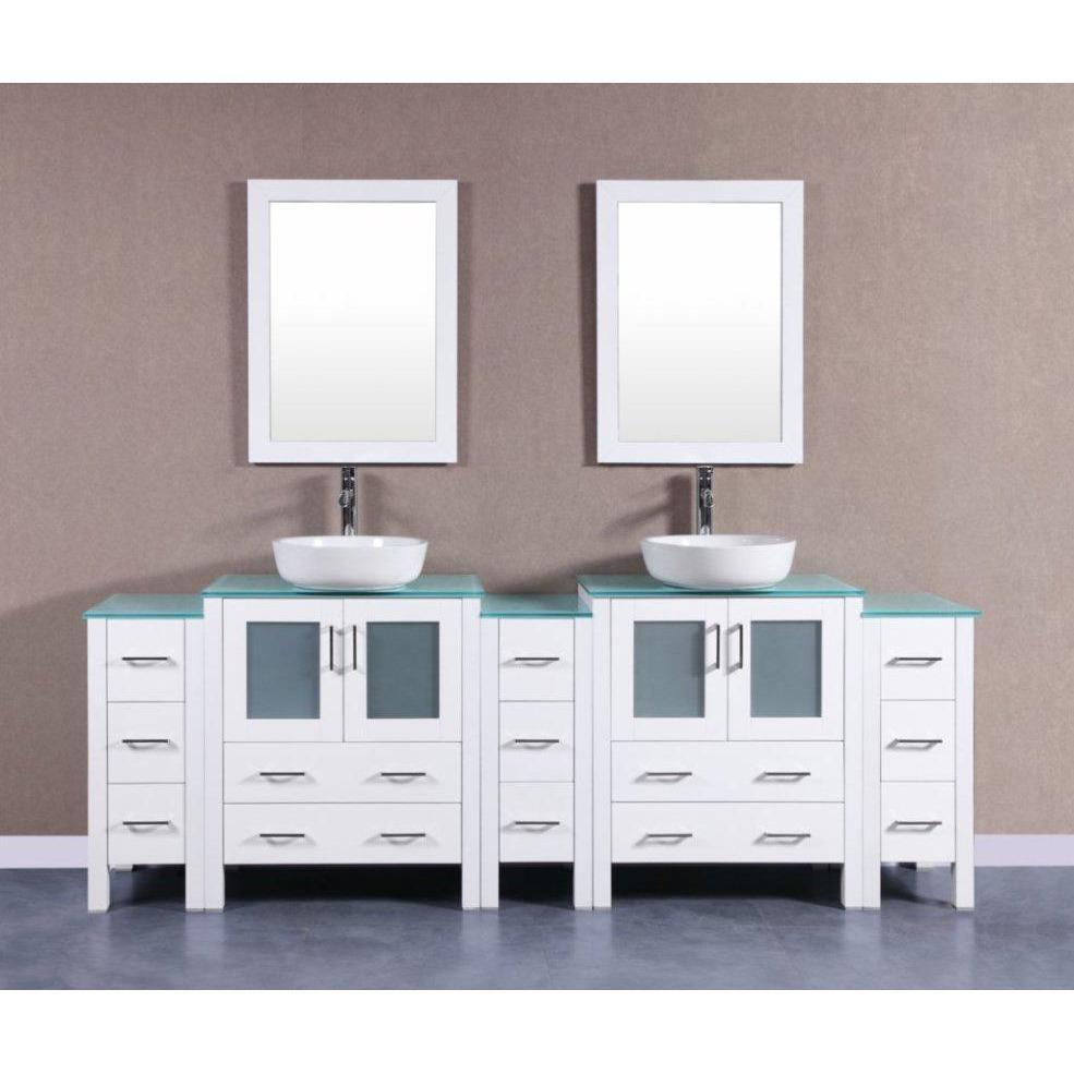 "Bosconi 96"" Double Vanity Bathroom Vanity AW230BWLCWG3S"