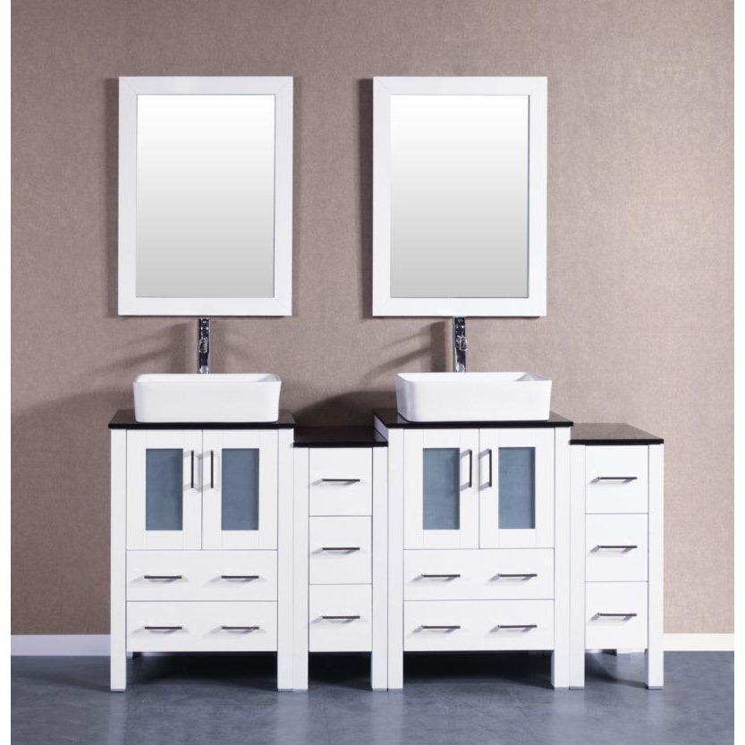 "Bosconi 72"" Double Vanity Bathroom Vanity AW224RCBG2S"