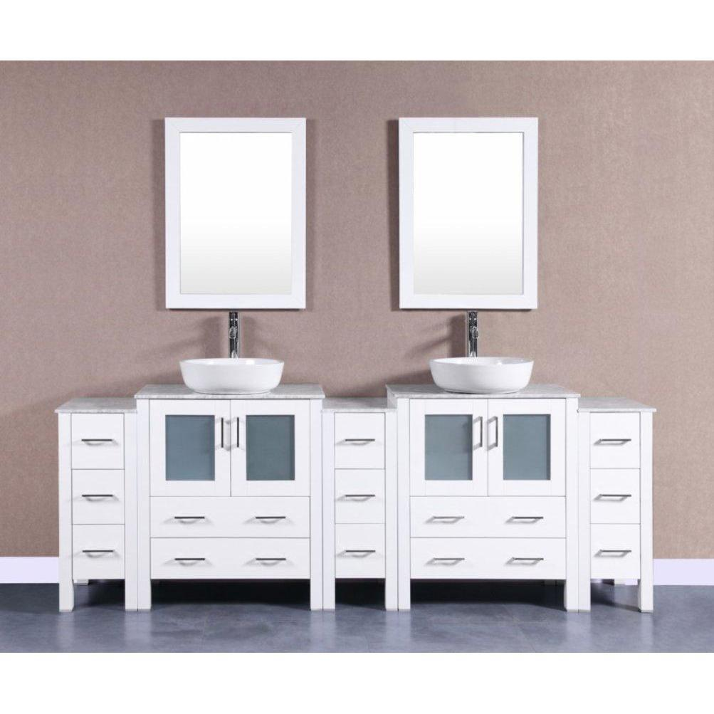 "Bosconi 96"" Double Vanity Bathroom Vanity AW230BWLCM3S"