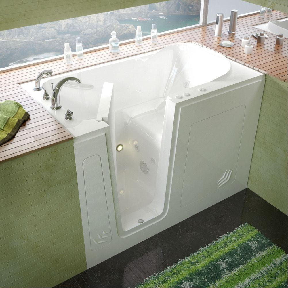 Meditub Walk-In Left Drain Whirlpool-Jetted White Bathtub 3054LWH