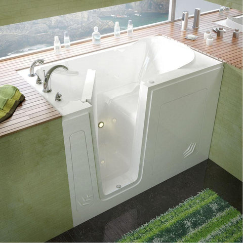 Meditub Walk-In Left Drain White Soaking Bathtub 3054LWS