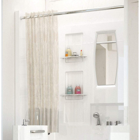Meditub Walk-In Shower Enclosure 3-Piece White Bathtub 3140SEN