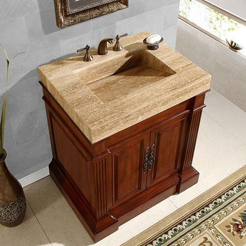 "Silkroad Exclusive 32.5"" Modern Single Sink Bathroom Vanity HYP-0219-T-VT-32.5"