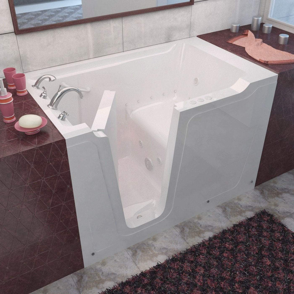 Meditub Walk-In Left Drain Whirlpool & Air Jetted White Bathtub 3660LWD