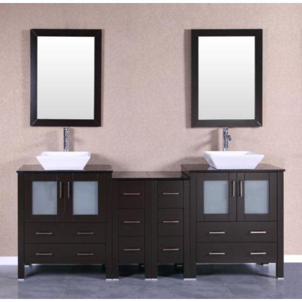 "Bosconi 84"" Double Vanity Bathroom Vanity AB230SQBG2S"