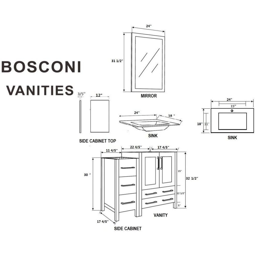 "Bosconi 48"" Single Vanity Bathroom Vanity AGR124EWGU2S"