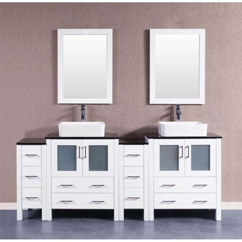 "Bosconi 84"" Double Vanity Bathroom Vanity AW230RCBG2S"