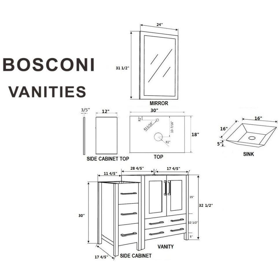 "Bosconi 96"" Double Vanity Bathroom Vanity AGR230SQBG3S"