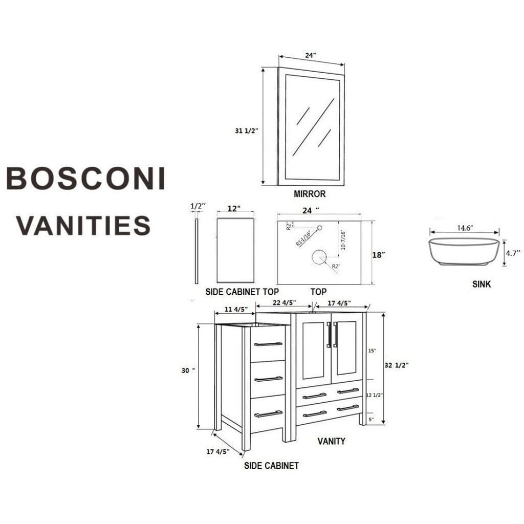 "Bosconi 72"" Double Vanity Bathroom Vanity AGR224BWLCM2S"