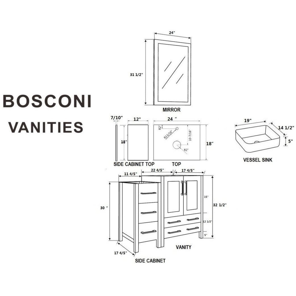 "Bosconi 36"" Single Vanity Bathroom Vanity AGR124RC1S"
