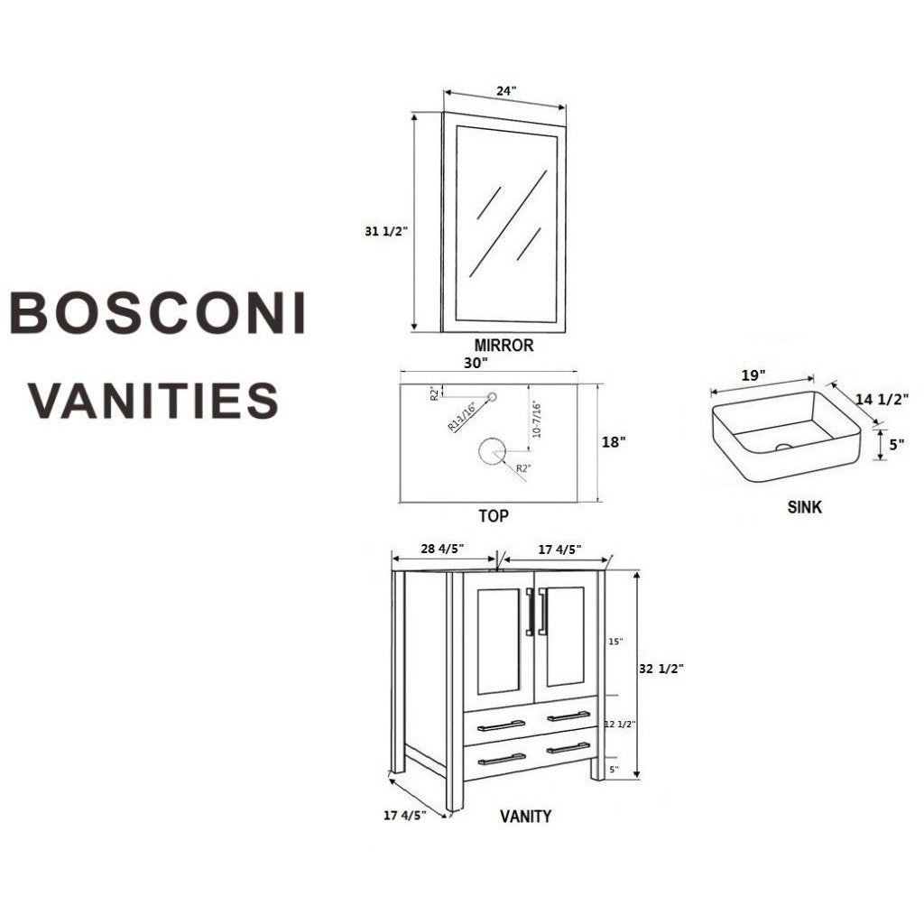 "Bosconi 30"" Single Vanity Bathroom Vanity AGR130RCBG"