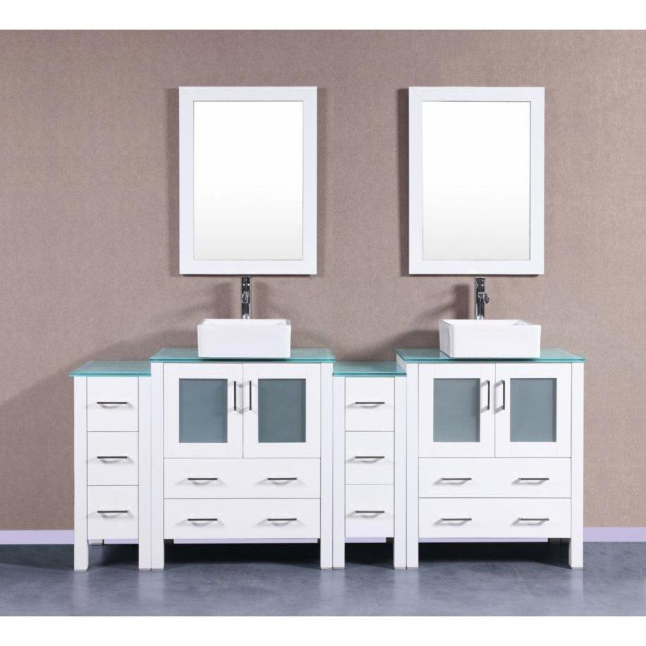 "Bosconi 84"" Double Vanity Bathroom Vanity AW230CBECWG2S"