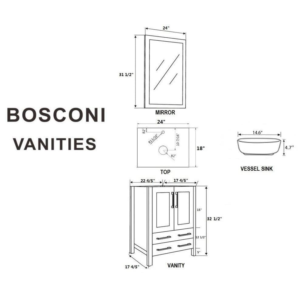 "Bosconi 48"" Double Vanity Bathroom Vanity AGR224BWLCM"