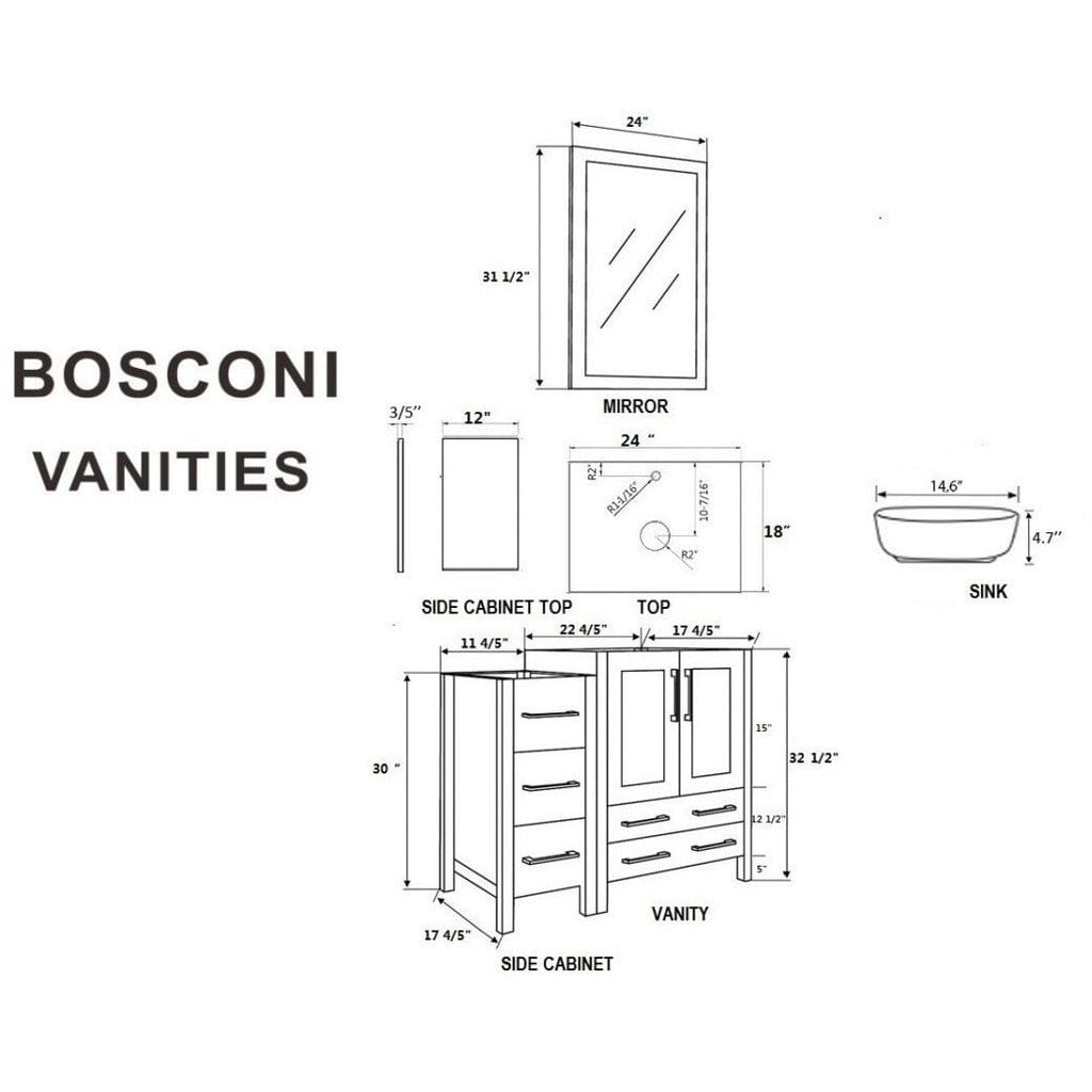 "Bosconi 60"" Double Vanity Bathroom Vanity AGR224BWLBG1S"