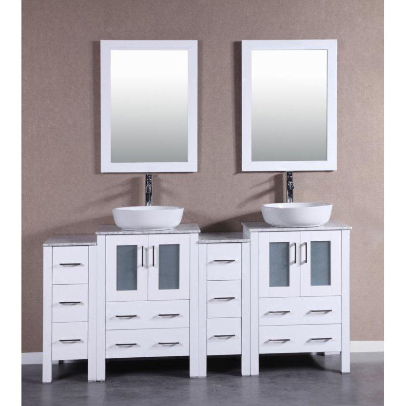 "Bosconi 72"" Double Vanity Bathroom Vanity AW224BWLCM2S"