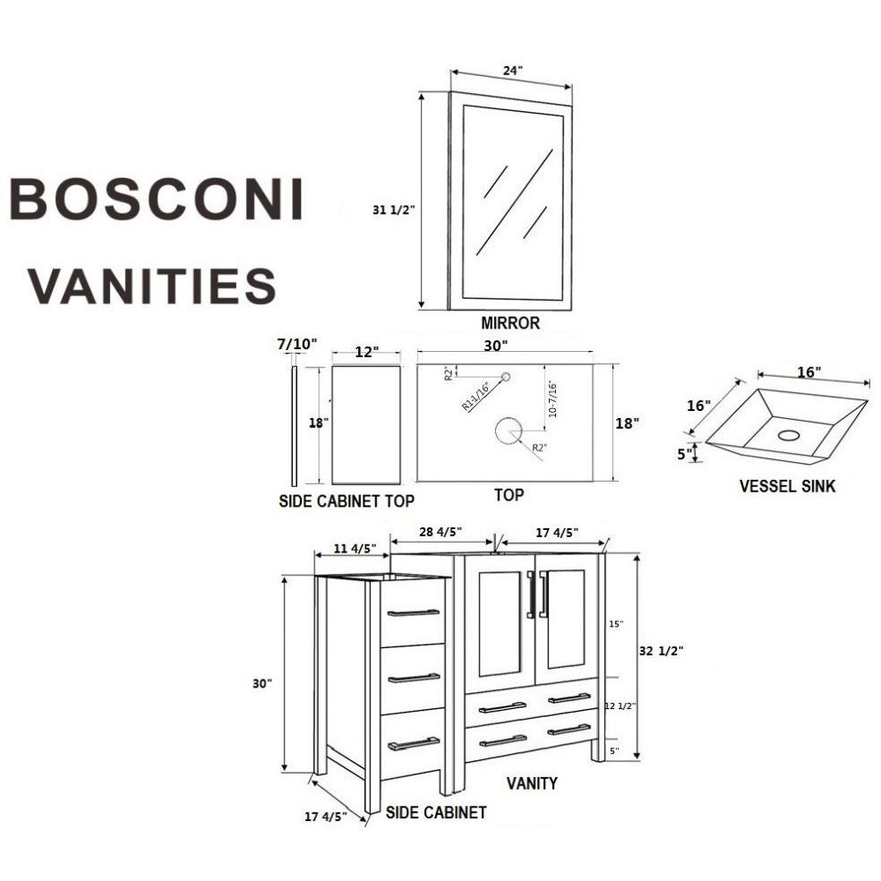 "Bosconi 42"" Single Vanity Bathroom Vanity AGR130S1S"
