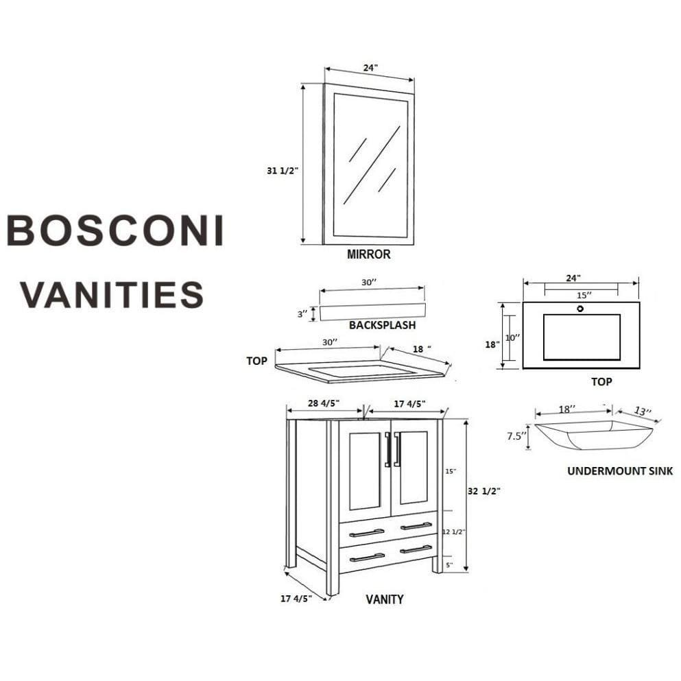"Bosconi 60"" Double Vanity Bathroom Vanity AGR230CMU"