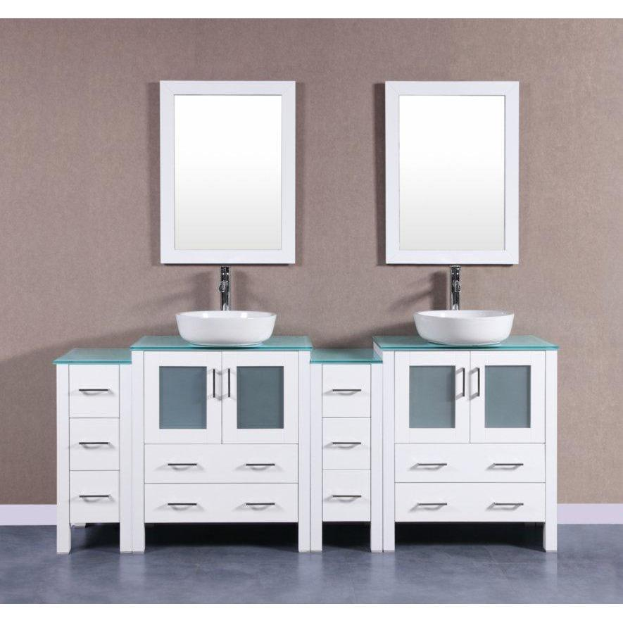 "Bosconi 84"" Double Vanity Bathroom Vanity AW230BWLCWG2S"