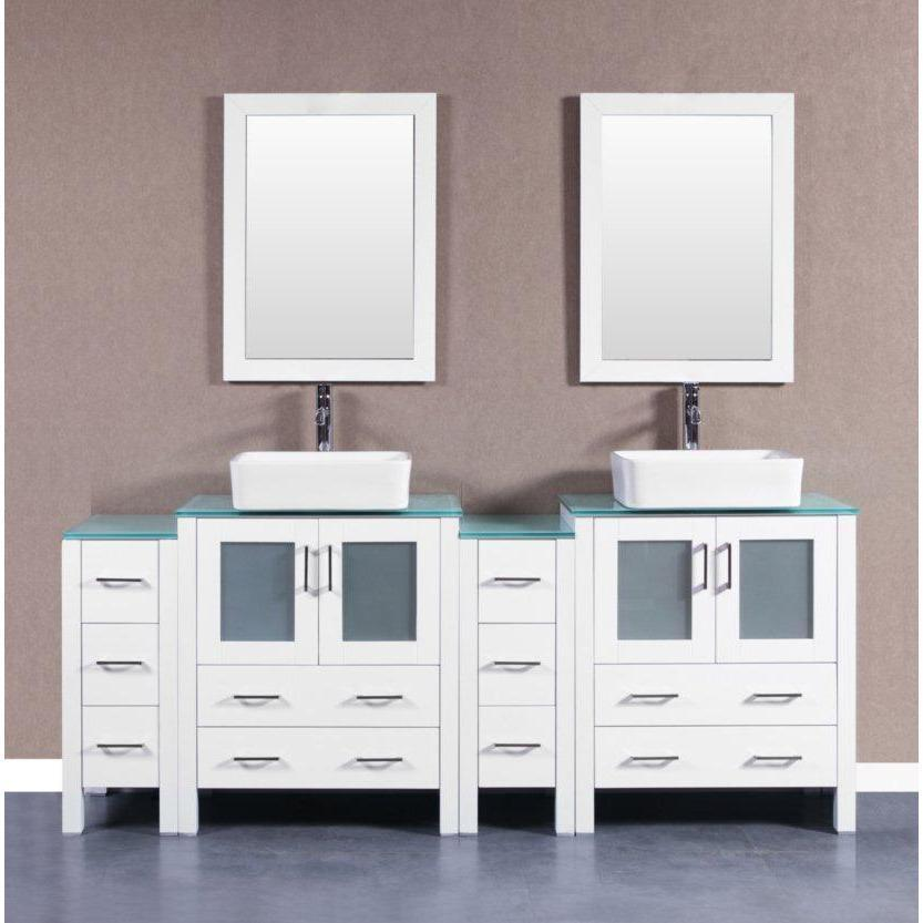 "Bosconi 84"" Double Vanity Bathroom Vanity AW230RCCWG2S"