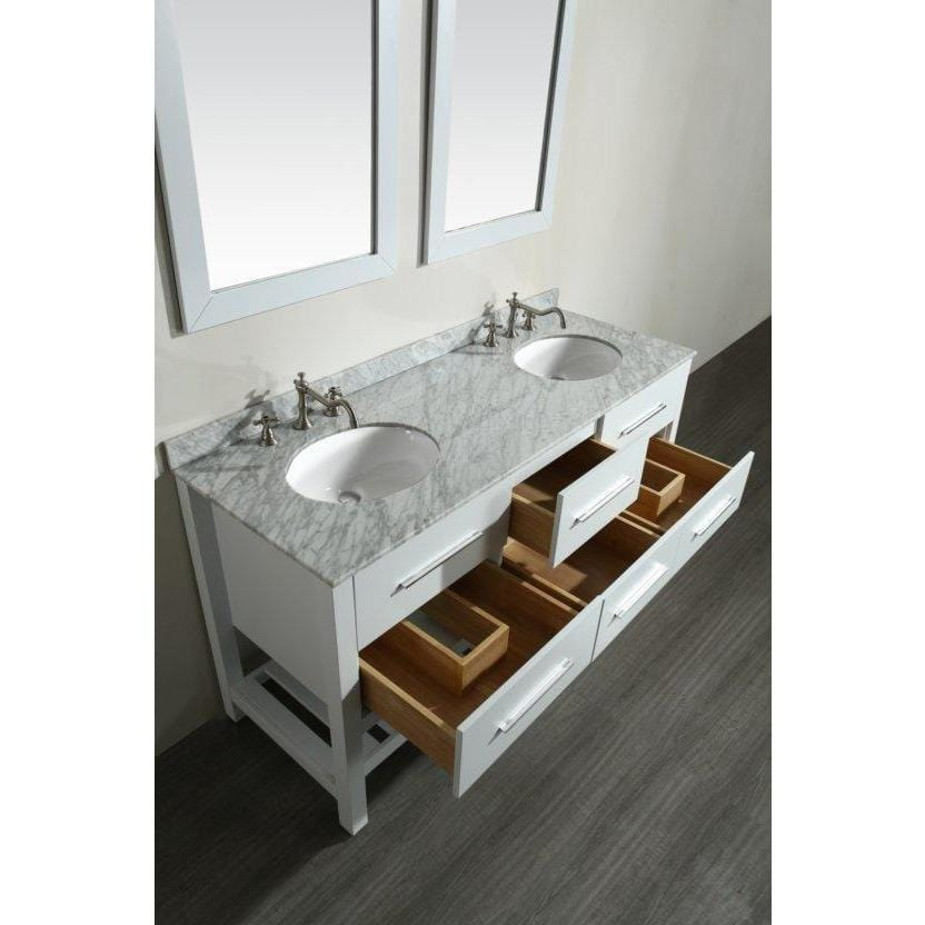 "Bosconi 60"" Double Vanity Bathroom Vanity SB-250-5WH"
