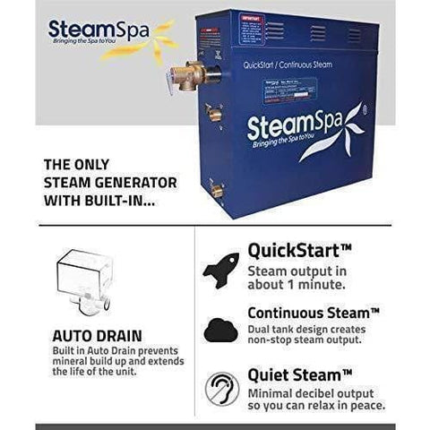 Steam Spa Steam Generators No SteamSpa QuickStart Indulgence 10.5 KW Acu-Steam Bath Generator IN1050BN