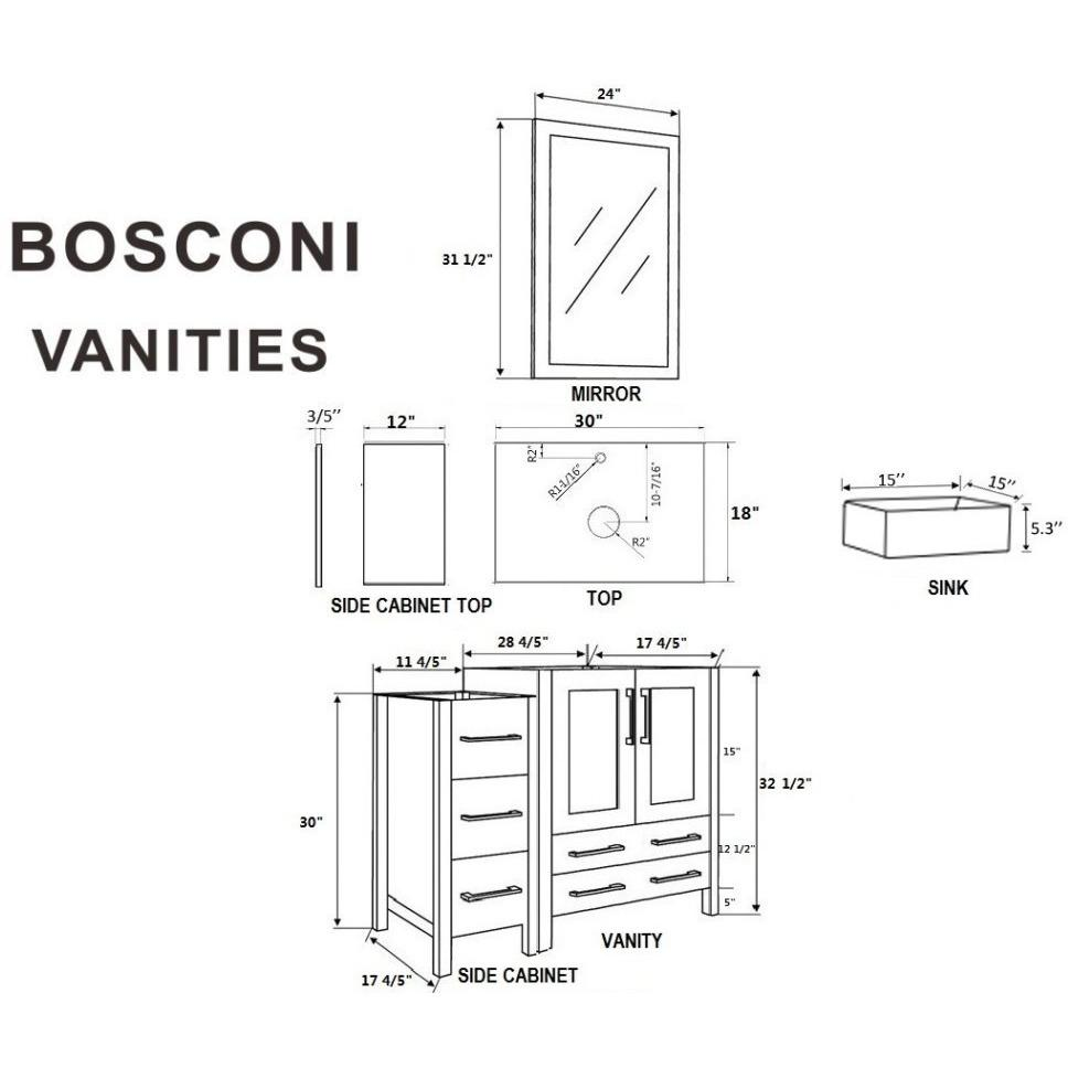 "Bosconi 42"" Single Vanity Bathroom Vanity AW130CBEBG1S"