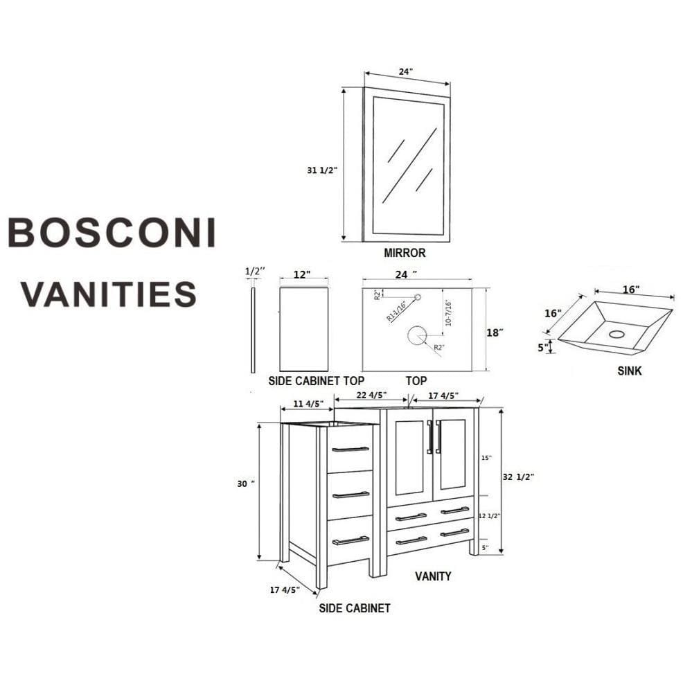 "Bosconi 84"" Double Vanity Bathroom Vanity AW224SQCM3S"