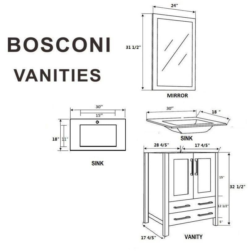 "Bosconi 60"" Double Vanity Bathroom Vanity AW230EWGU"