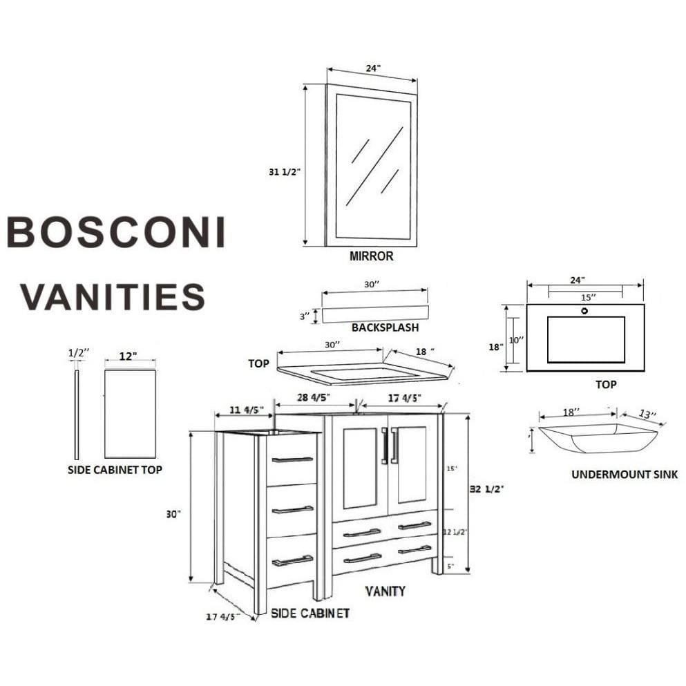 "Bosconi 96"" Double Vanity Bathroom Vanity AW230CMU3S"