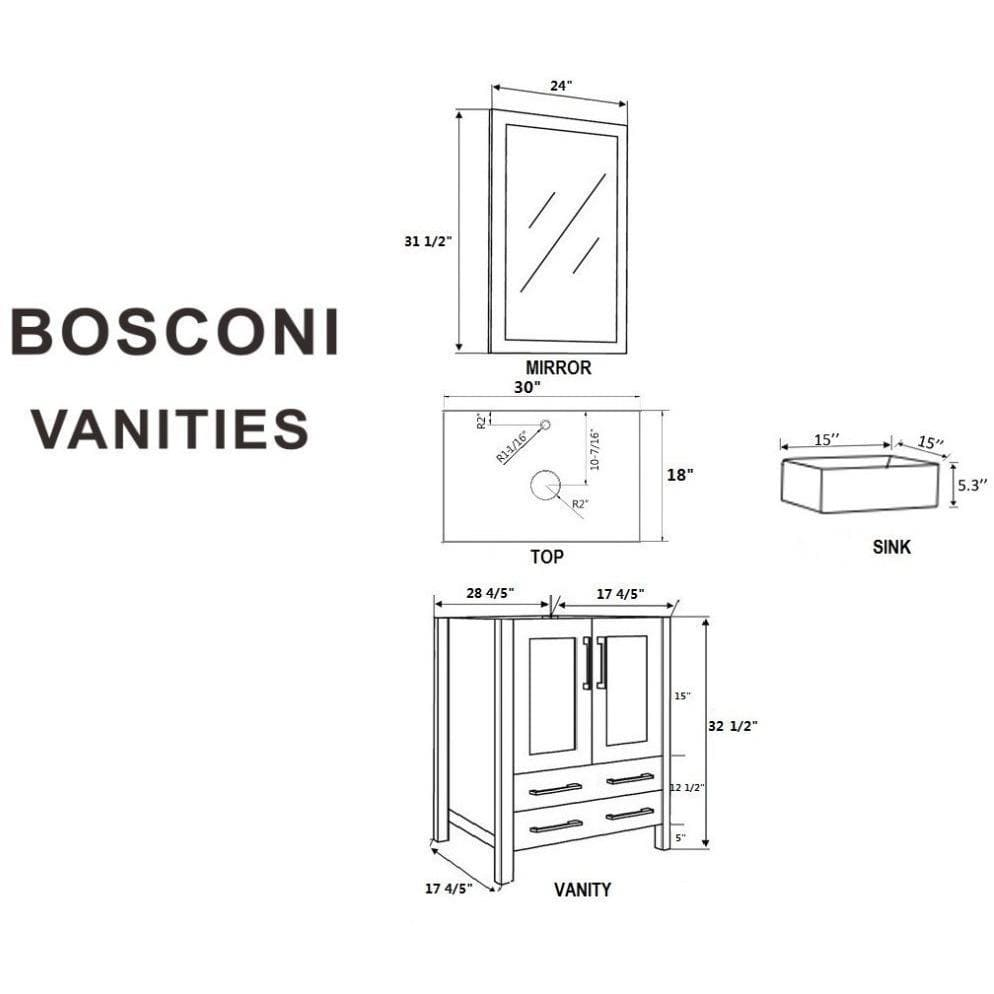 "Bosconi 60"" Double Vanity Bathroom Vanity AB230CBECWG"