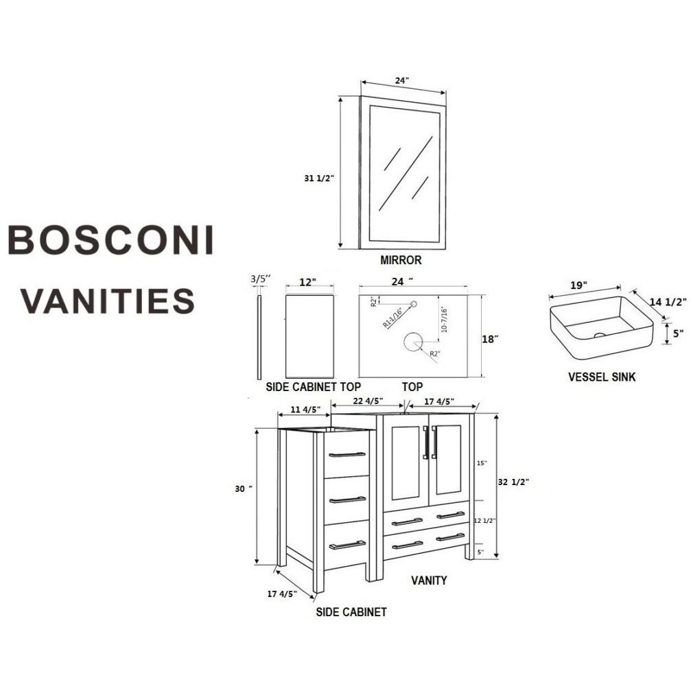 "Bosconi 48"" Single Vanity Bathroom Vanity AW124RCCWG2S"