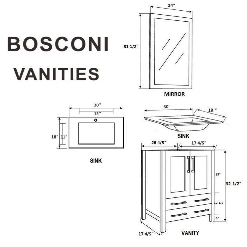 "Bosconi 60"" Double Vanity Bathroom Vanity AW230BGU"