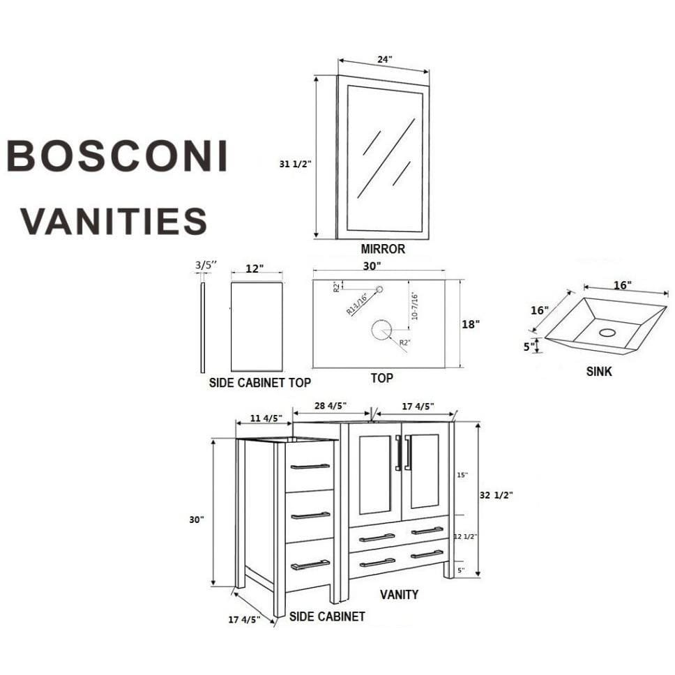 "Bosconi 96"" Double Vanity Bathroom Vanity AW230SQBG3S"