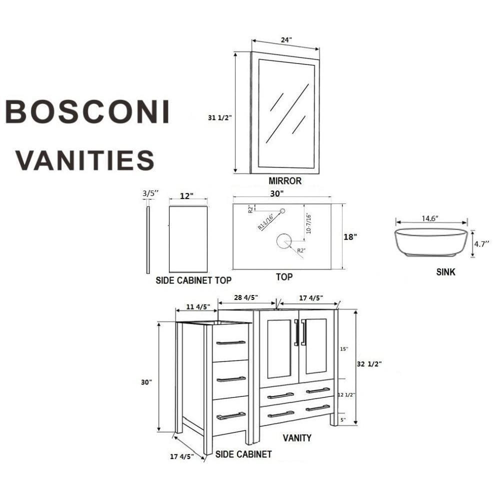 "Bosconi 96"" Double Vanity Bathroom Vanity AB230BWLBG3S"