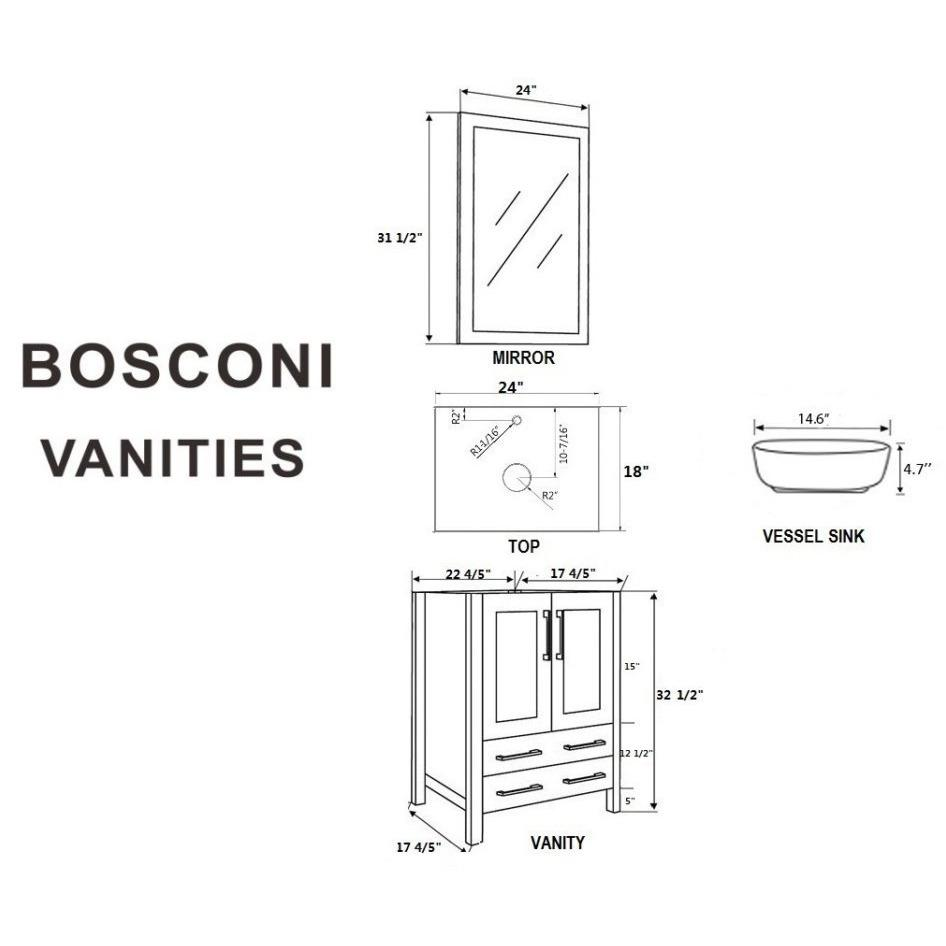 "Bosconi 24"" Single Vanity Bathroom Vanity AW124BWLBG"