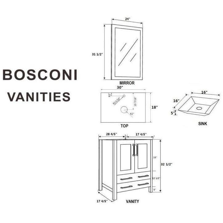 "Bosconi 60"" Double Vanity Bathroom Vanity AB230SQBG"