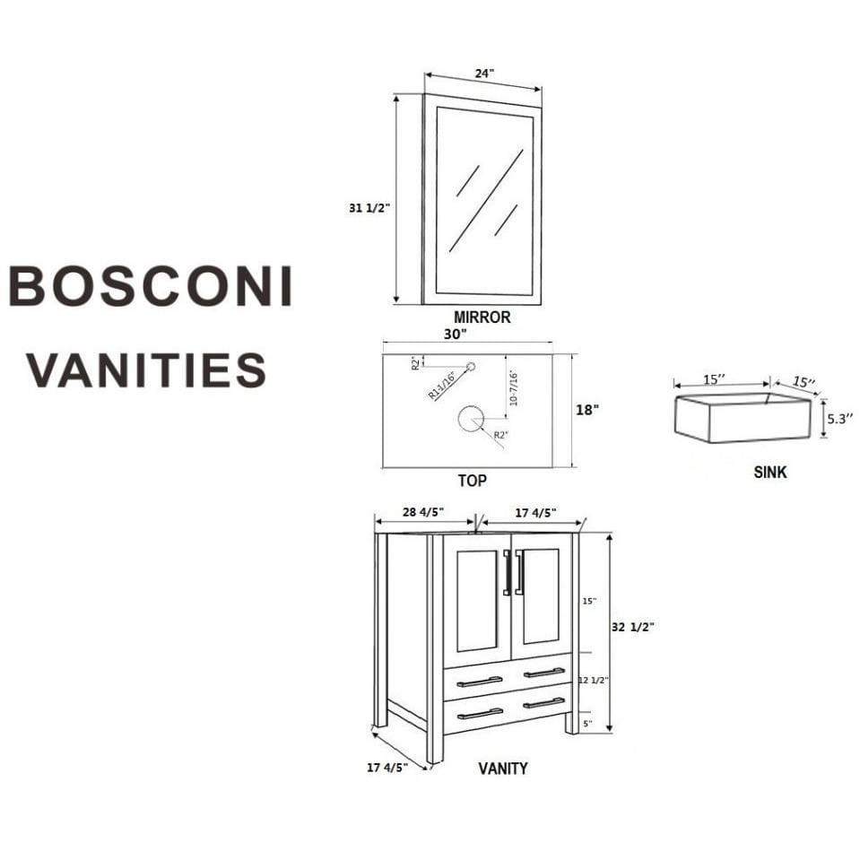 "Bosconi 60"" Double Vanity Bathroom Vanity AW230CBECWG"