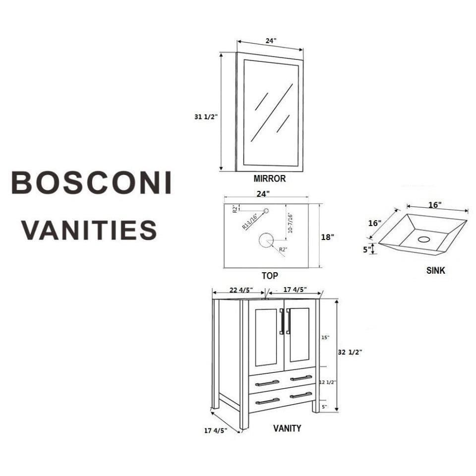 "Bosconi 48"" Double Vanity Bathroom Vanity AB224SQCWG"