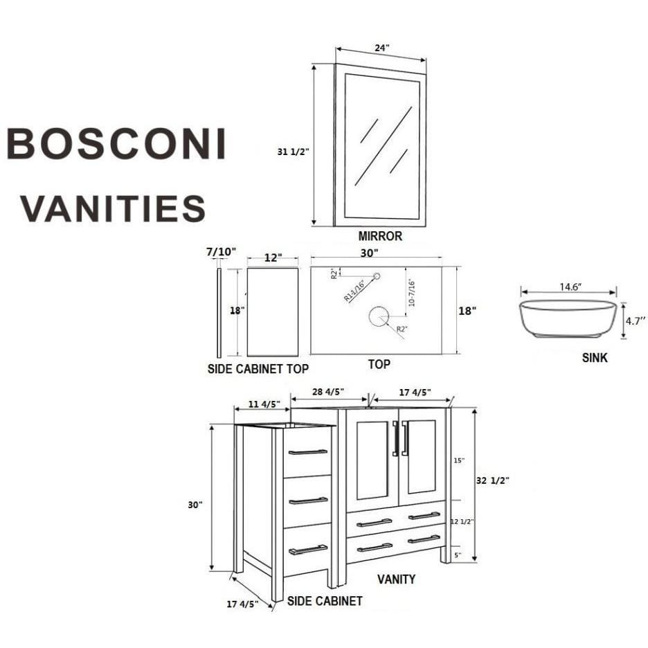 "Bosconi 54"" Single Vanity Bathroom Vanity AW130BWLPS2S"