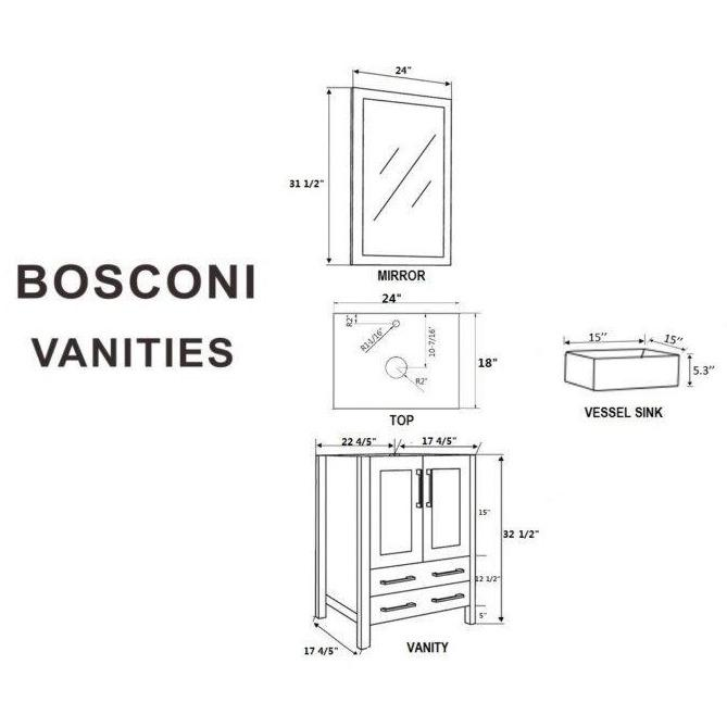 "Bosconi 48"" Double Vanity Bathroom Vanity AB224CBECWG"