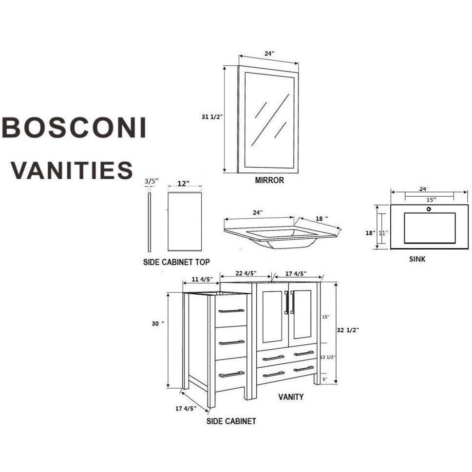 "Bosconi 84"" Double Vanity Bathroom Vanity AW224BGU3S"