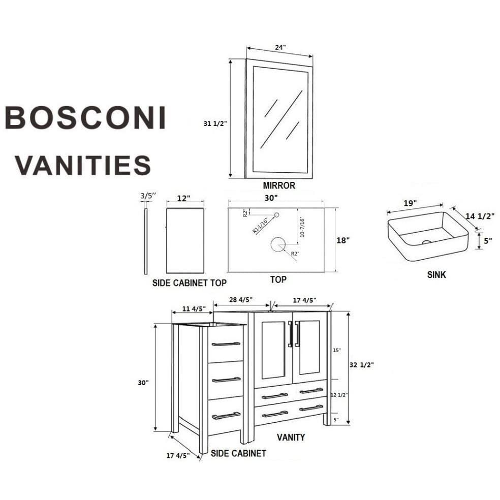 "Bosconi 54"" Single Vanity Bathroom Vanity AW130RCBG2S"
