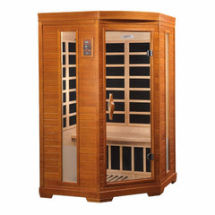 Golden Designs Dynamic Heming 2-Person Corner Low EMF FAR Infrared Sauna DYN-6225-02