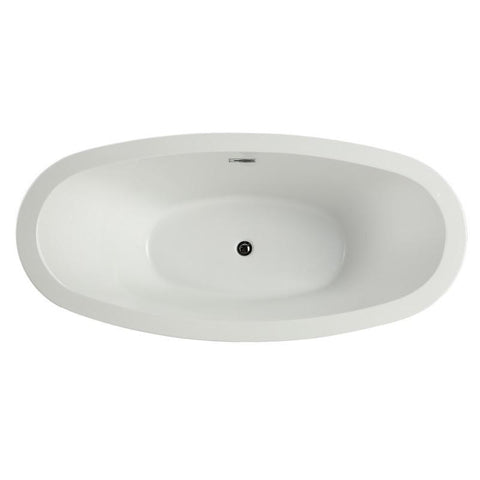 "MTD Vanities Seal 69"" Modern Freestanding Bathtub In White MTD-SEA-69"
