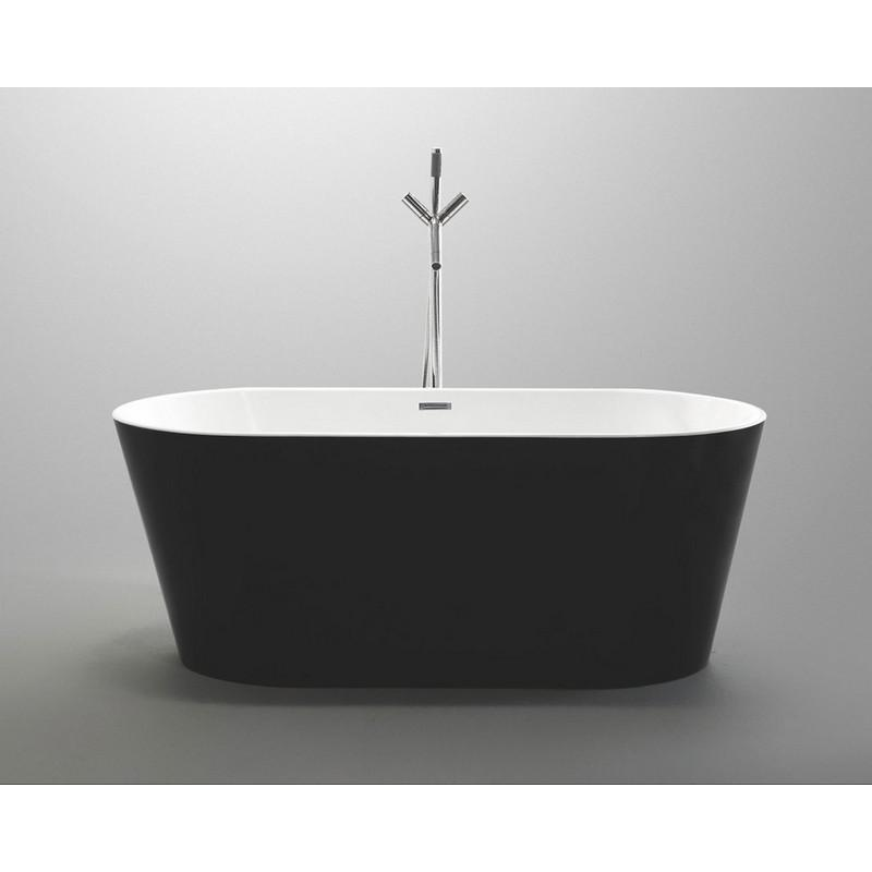 "MTD Vanities Laguna 60"" Freestanding Bathtub In Black MTD-LAG-60B"
