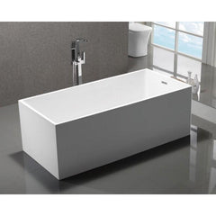 "MTD Vanities Long Beach 60"" Modern Freestanding Bathtub In White MTD-LONG-60"