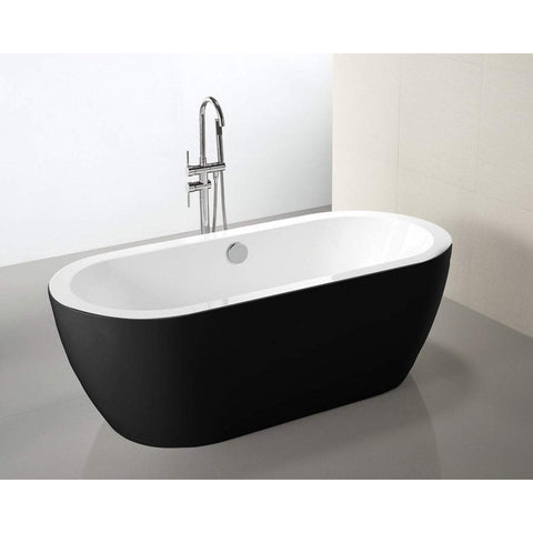 "MTD Vanities Venice 67"" Freestanding Bathtub In Black MTD-VEN-67B"