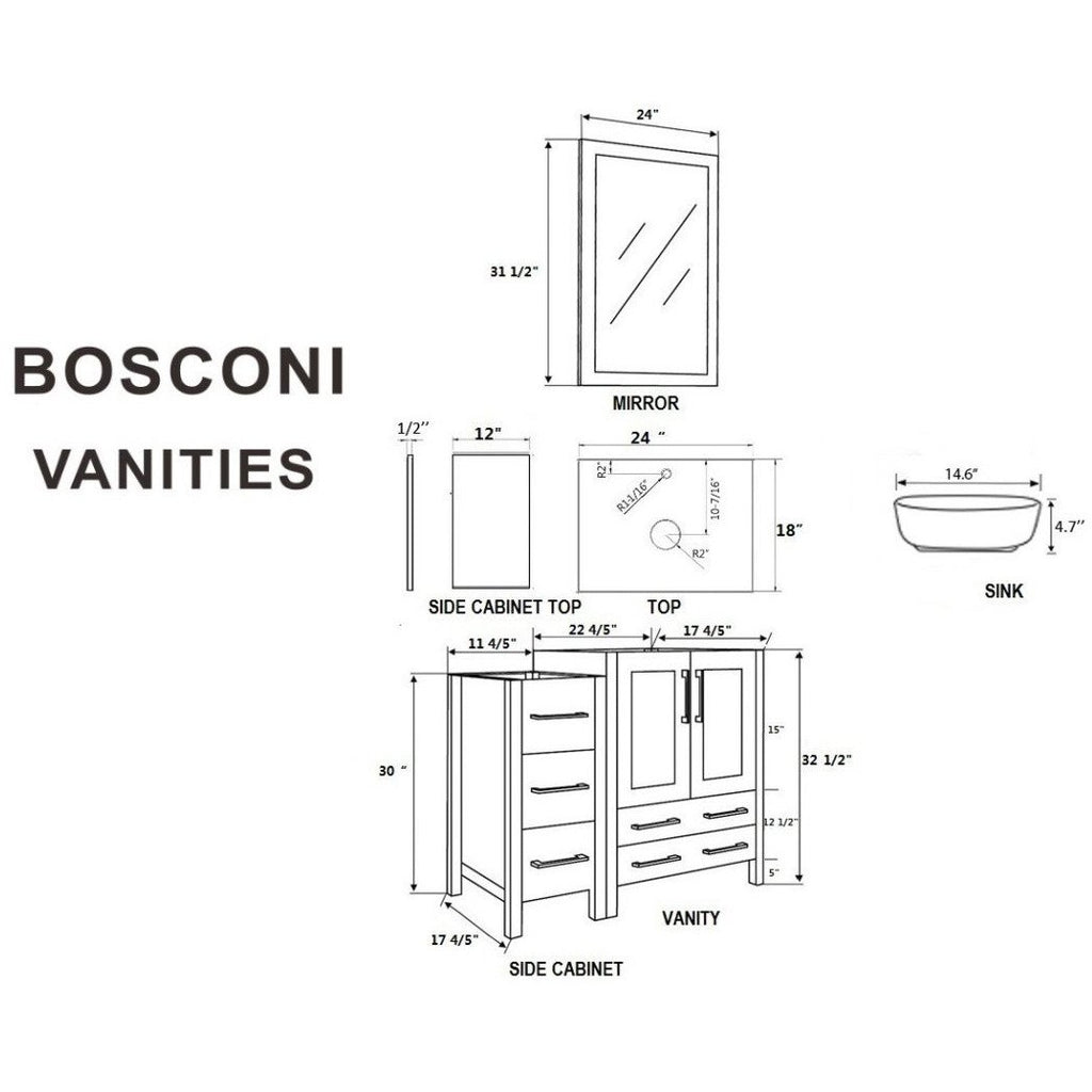 "Bosconi 48"" Single Vanity Bathroom Vanity AW124BWLCM2S"